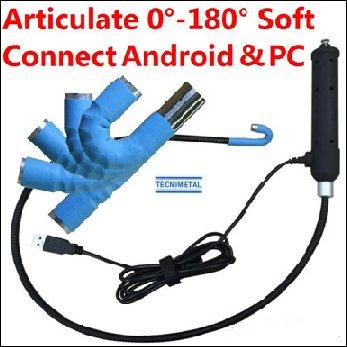 Endoscopio port�til con articulaci�n 180� y aplicaci�n para conectar a tel�fono tablet Android